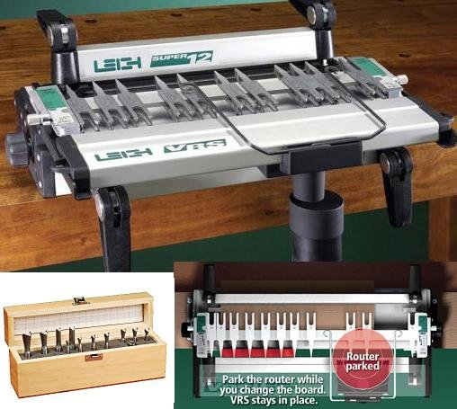 Leigh vrs vac router support 12 pc cutter set for d4 for Leigh isoloc hybrid dovetail templates